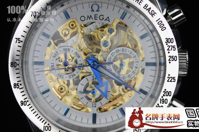 欧米茄6针镂空手表背透机械表 进口机芯omega041图片